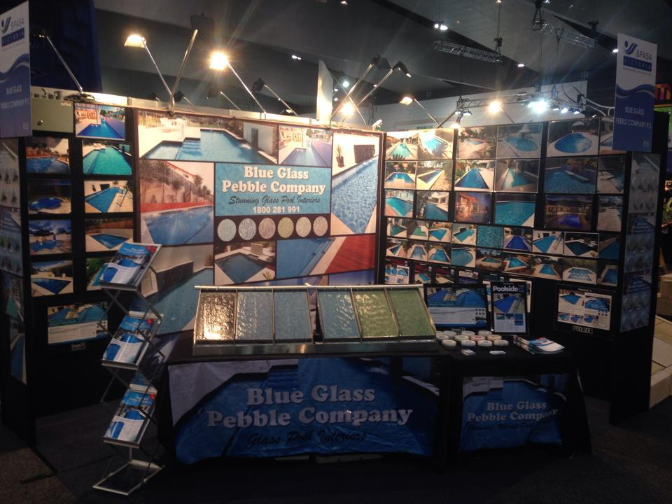 Media blue glass pebble company for Pool show melbourne