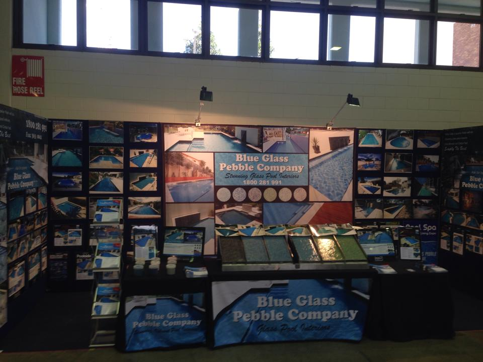 Media blue glass pebble company for Pool spa show vegas 2015