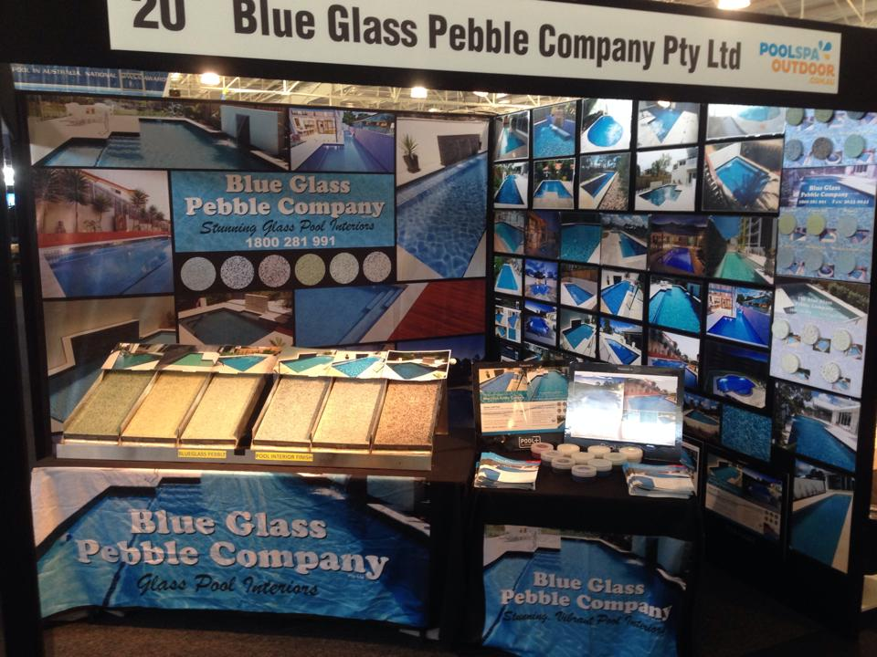 Media blue glass pebble company for Pool show perth 2015