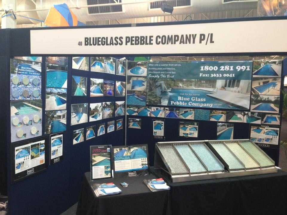 Media blue glass pebble company for Pool show perth